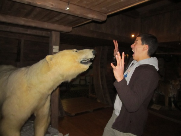 Ramsey getting attacked by a polar bear... as you do...